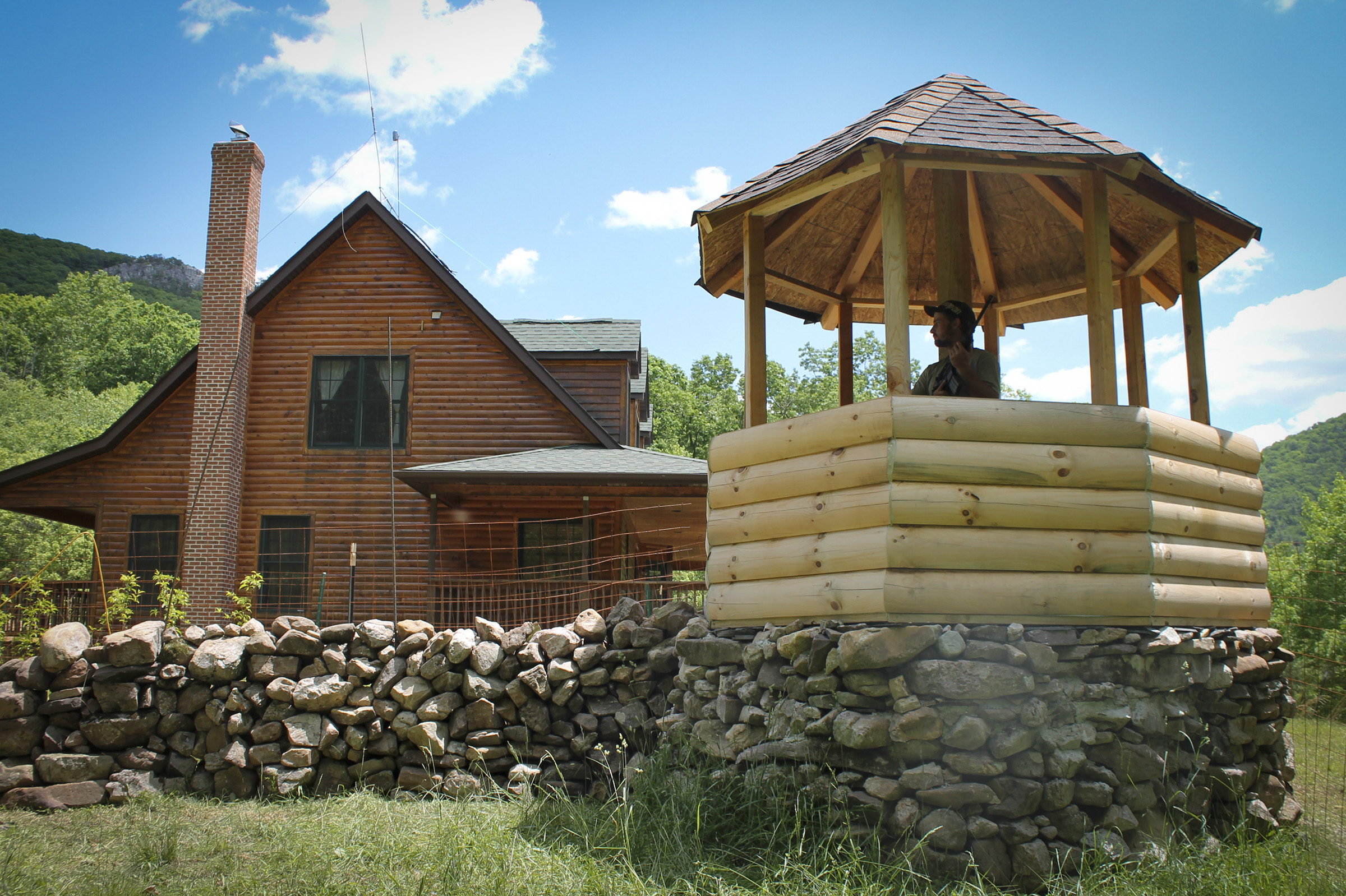 <p>One of nine completed gazebo guard towers onthe West Virginia ranch, which werecreated to aid residents in defending their compound against possible marauders.</p>