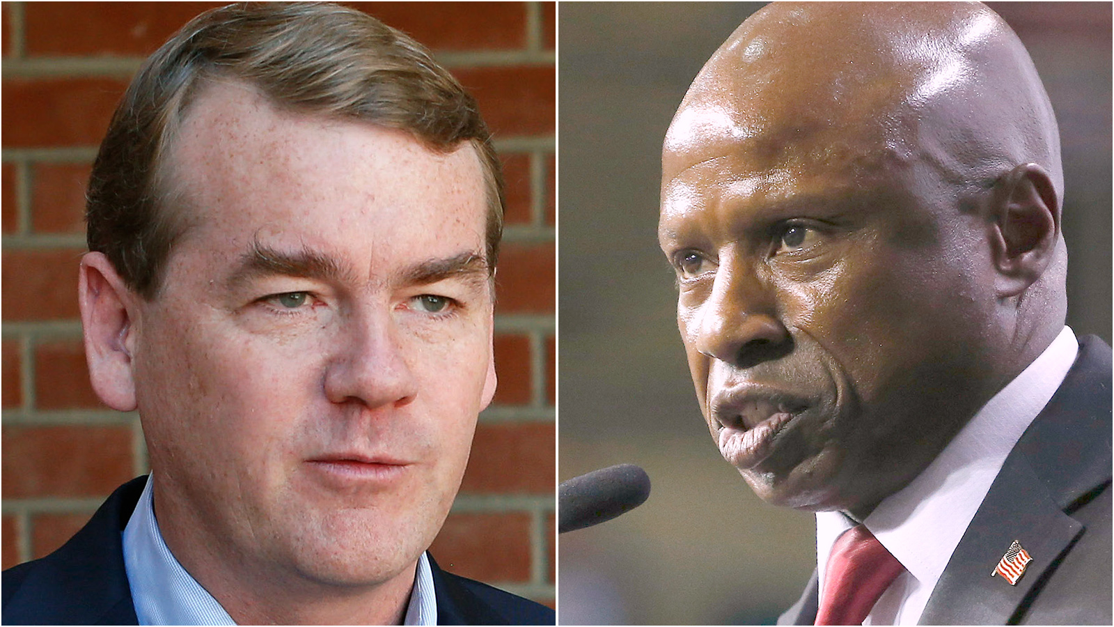 <p>Incumbent Democratic U.S. Sen. Michael Bennet, left, will face Republican challenger Darryl Glenn, right, in this fall's election.</p>