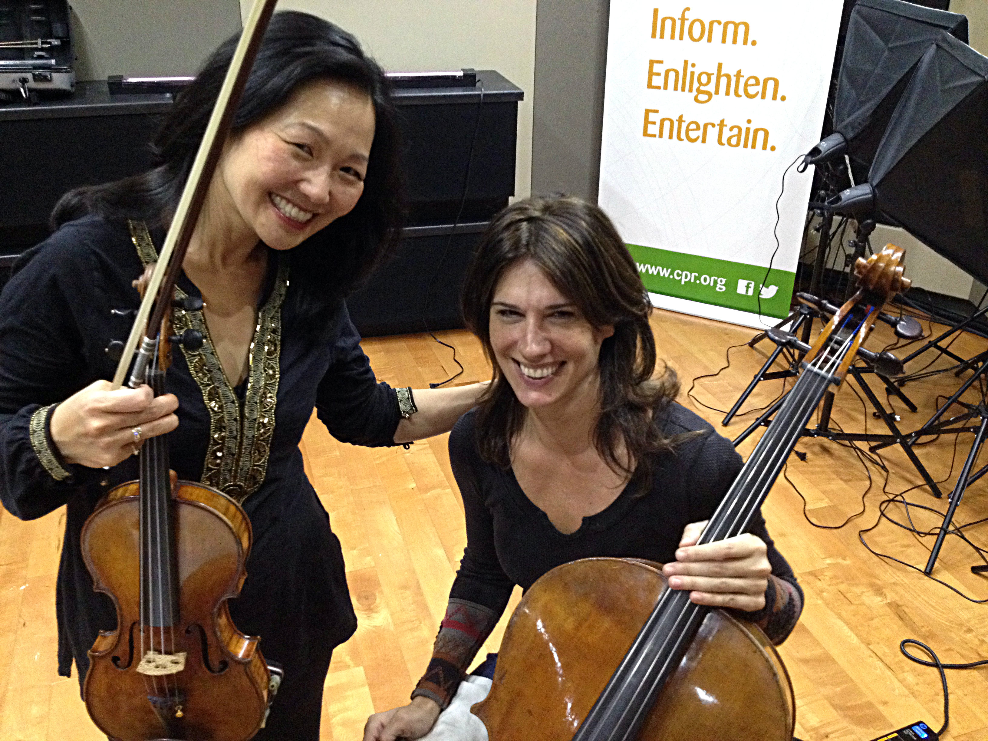 <p>Former classmates and now co-soloists: Colorado Symphony concertmaster Yumi Hwang-Williams and cellist Wendy Sutter in the CPR Performance Studio.</p>