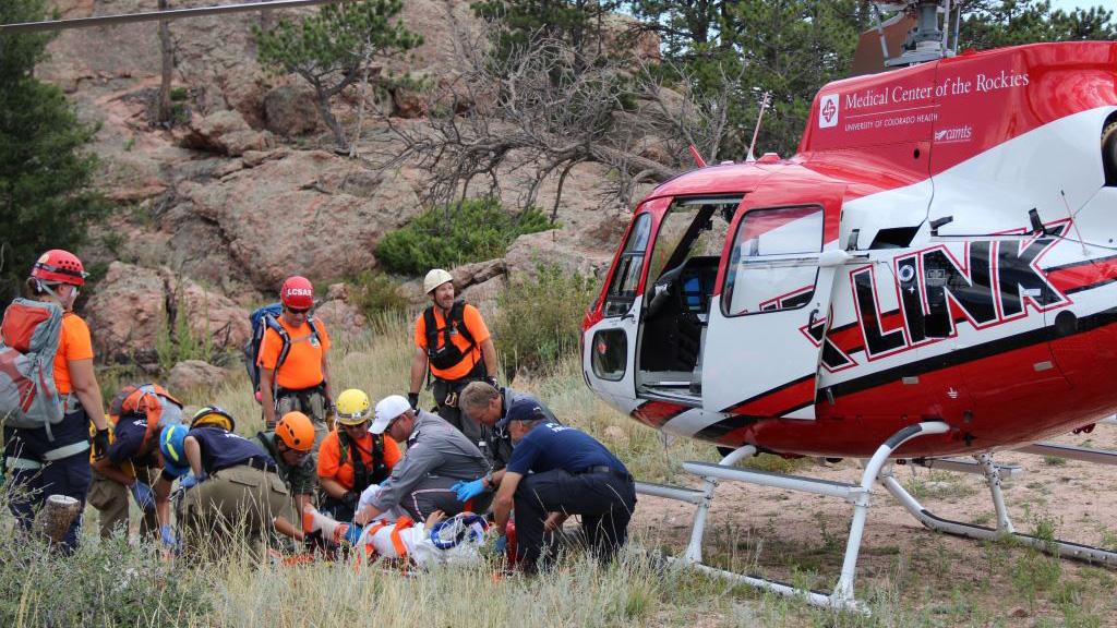 <p>Rescue crews airlifted an injured hiker from Horsetooth Rock on Monday, Aug. 18, 2014.</p>