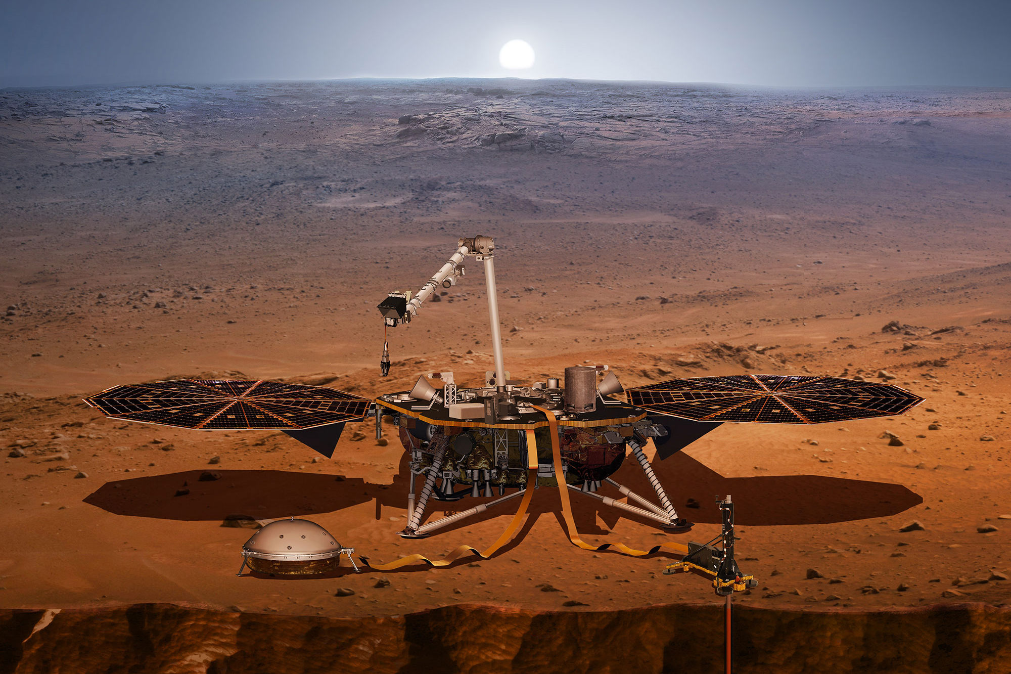 <p>An artist's rendering of what the InSight lander might look like on Mars.</p>