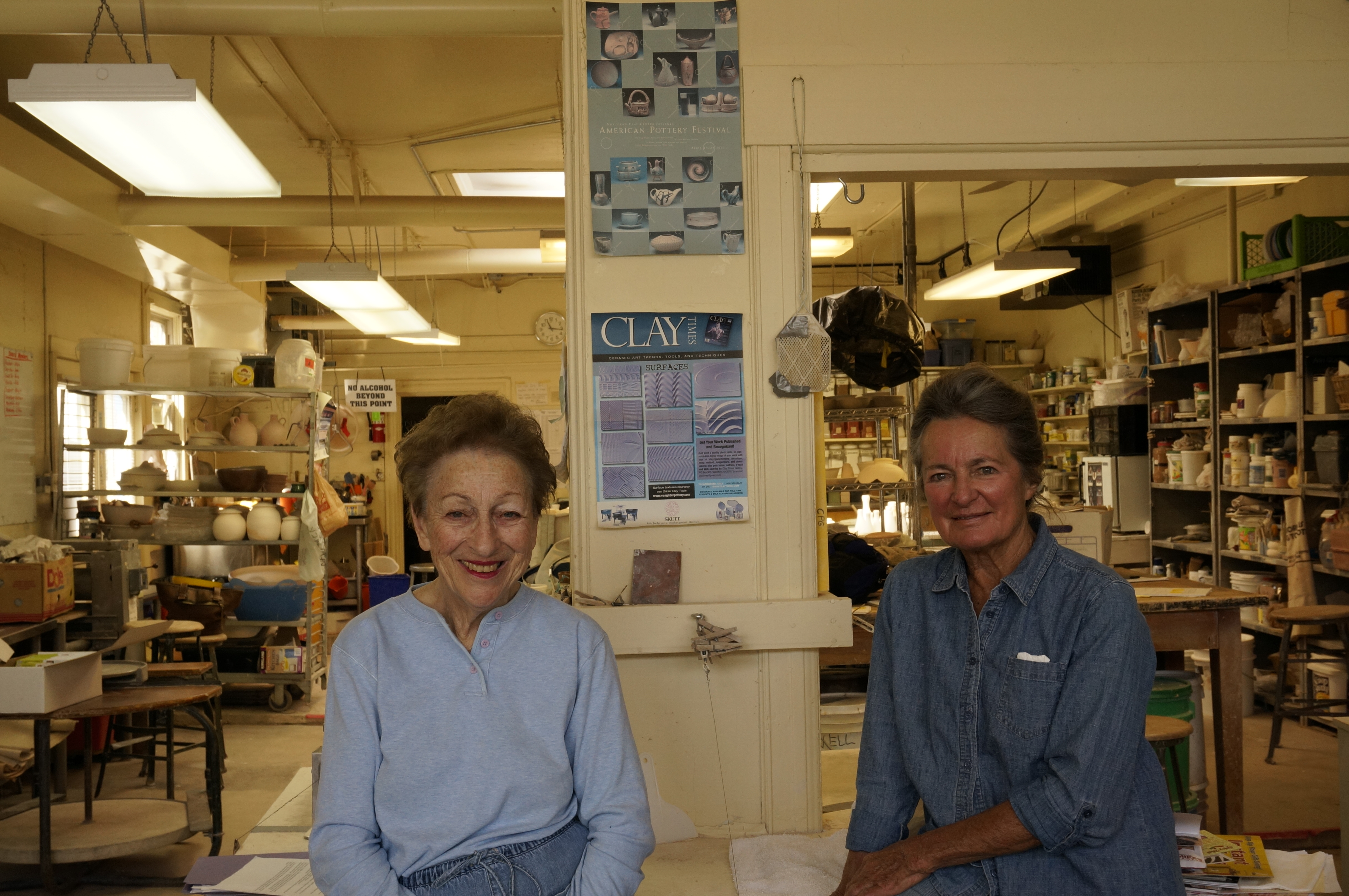 <p>Jo Sanders and Trudy Fowler of the Colorado Potters Guild</p>
