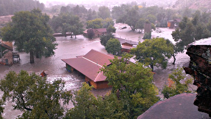 <p>Flooding last September swamped the small Boulder County town of Lyons.</p>