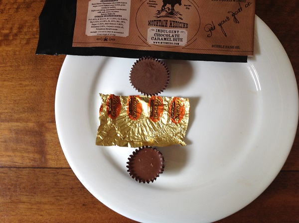 <p>A photo of an edible marijuana candy above a Reese's Peanut Butter Cup shows how similar they look. </p>
