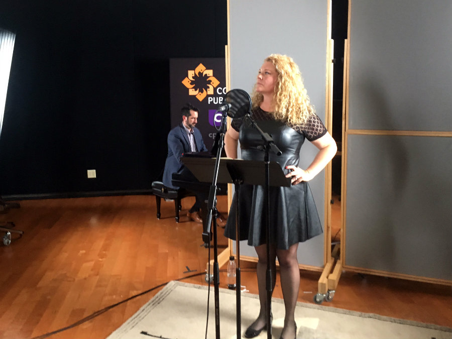 <p>Mezzo-soprano Michelle DeYoung sings in the CPR Performance Studio, accompanied by conductor Andres Cladera on piano.</p>