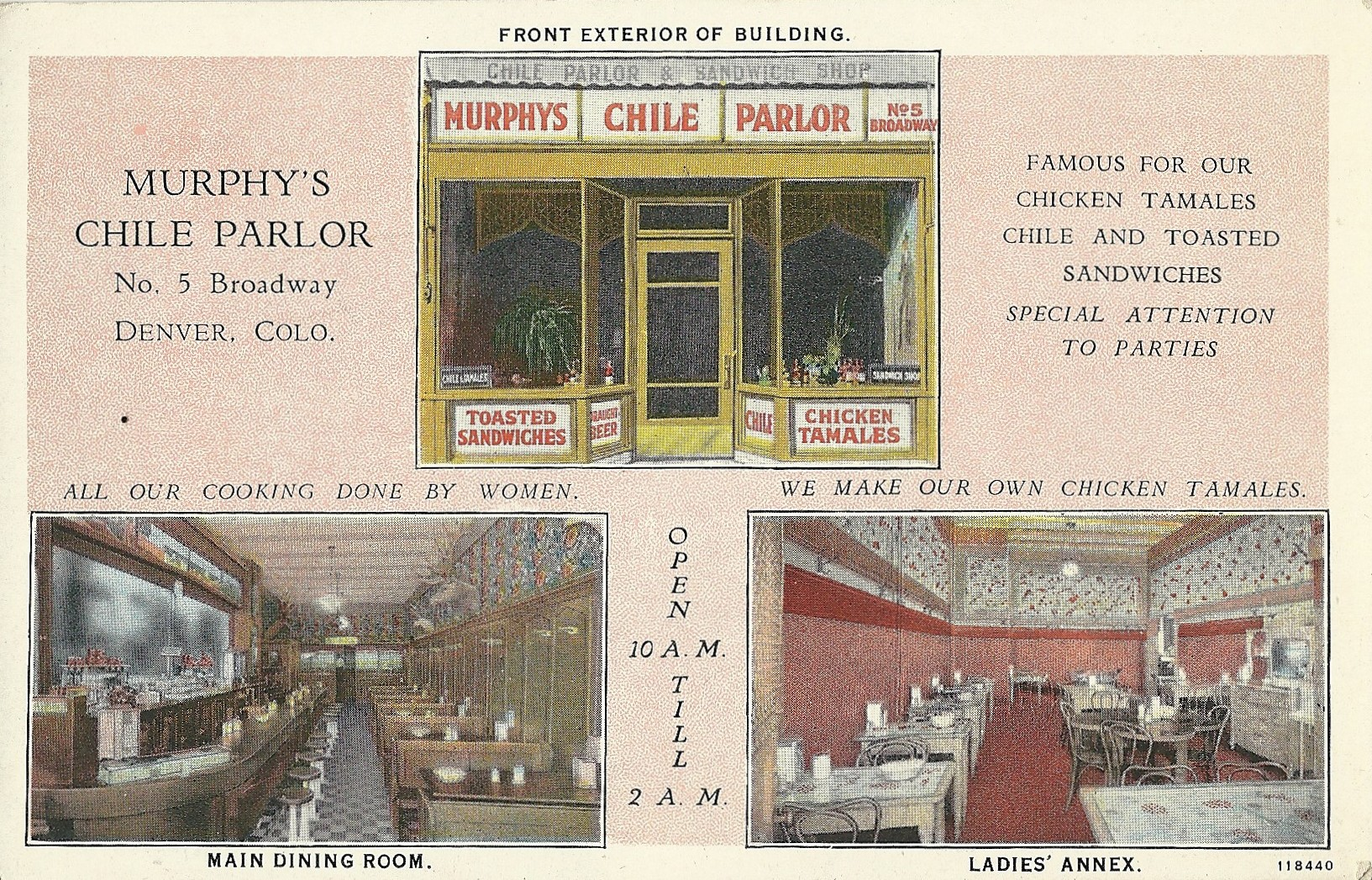 <p>An ad for Murphy's Chili Parlor at 5 Broadway in Denver circa 1920s.  </p>