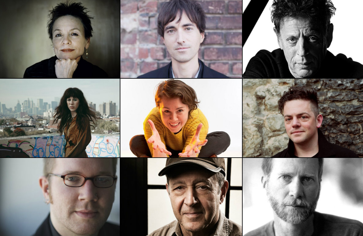<p>Here's a taste of the composers whose work will be featured on Music Forward. Top row, left to right: Laurie Anderson, Mason Bates, Philip Glass. Middle row: Missy Mazzoli, Caroline Shaw, Nico Muhly. Bottom row: Caleb Burhans, Steve Reich, John Luther Adams.</p>