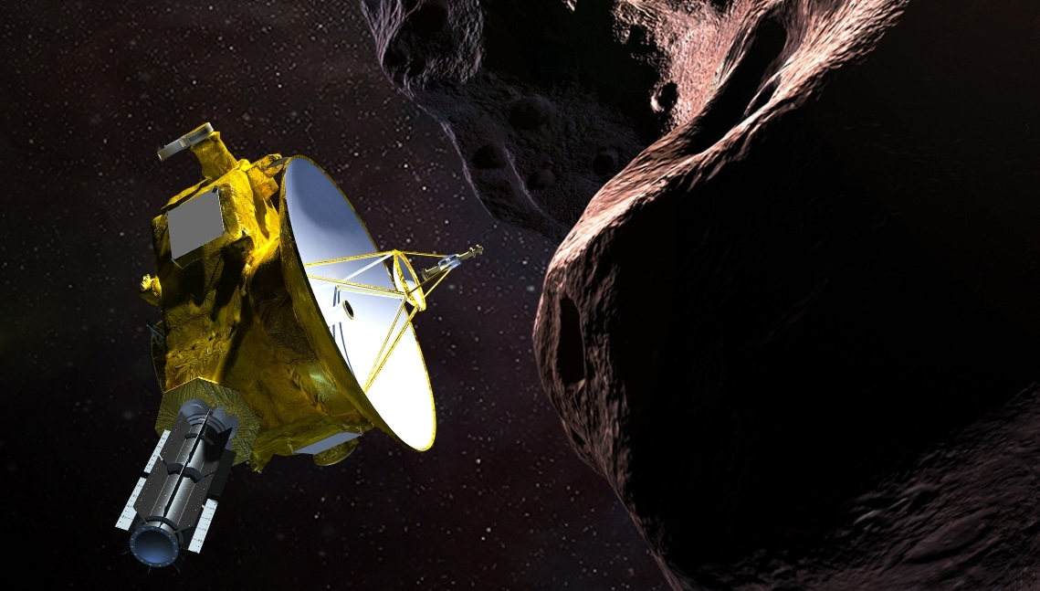 "<p>Illustration of NASA's New Horizons spacecraft encountering 2014 MU69 – nicknamed ""Ultima Thule"" – a Kuiper Belt object that orbits one billion miles beyond Pluto.</p>"