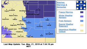 A freeze warning and frost advisory are in effect for Southern Colorado through Wednesday morning, May 22, 2019.
