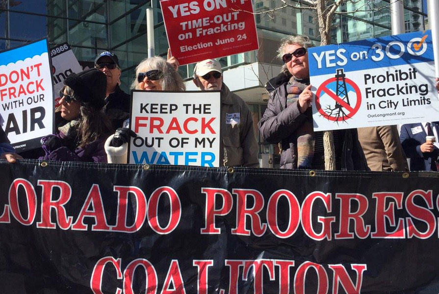<p>About two dozen anti-fracking demonstrators protested outside the Oil and Gas Task Force meeting on Tuesday, Feb. 24, 2015.</p>