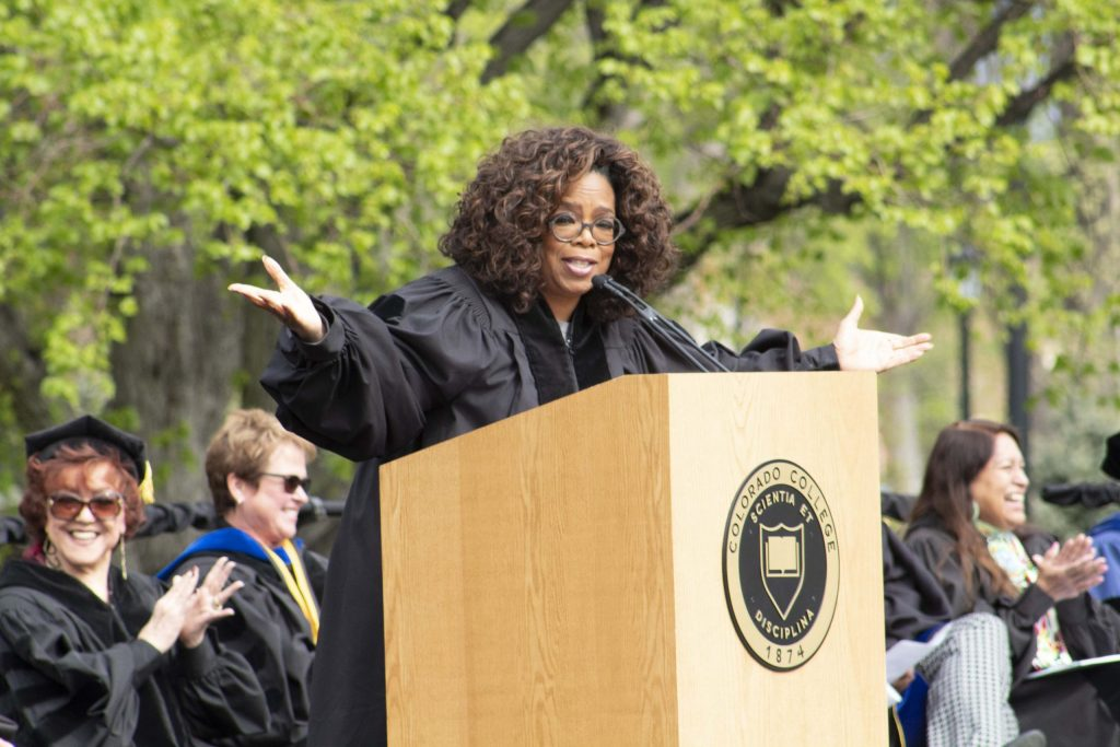 Oprah Winfrey speaks to graduates at the 2019 commencement ceremony of The Colorado College.