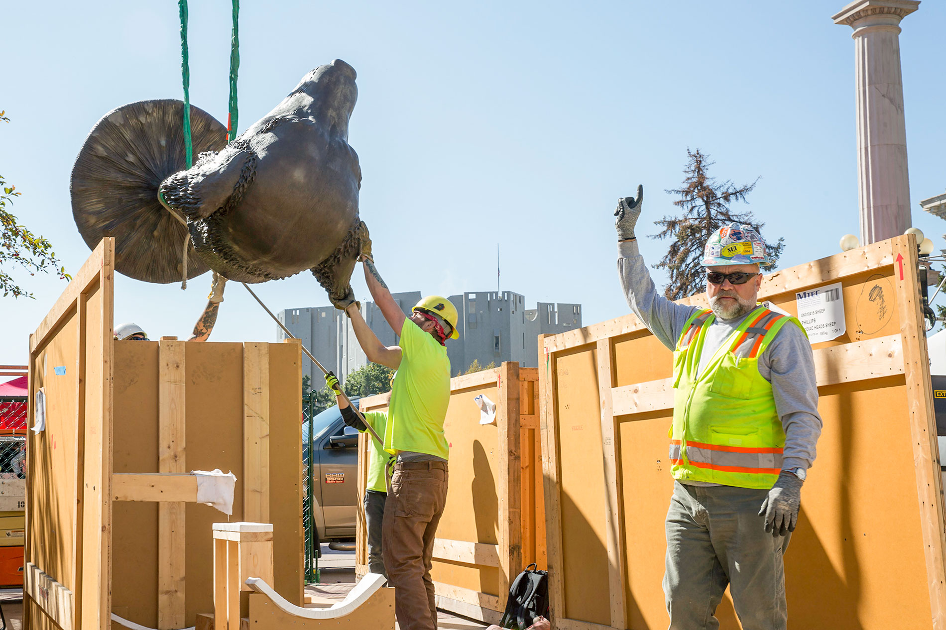 "<p>Fine art rigger Roger Machin of Chicago's Methods & Materials leads his crew during the installation of Ai Weiwei's ""Circle of Animals/Zodiac Heads"" sculptures in Denver's Civic Center Park, Oct. 4, 2017.</p>"
