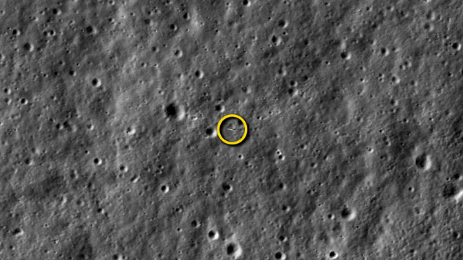<p>NASA's Lunar Atmosphere and Dust Environment Explorer (LADEE) spacecraft as it orbited our nearest celestial neighbor, photographed by another NASA spacecraft.</p>