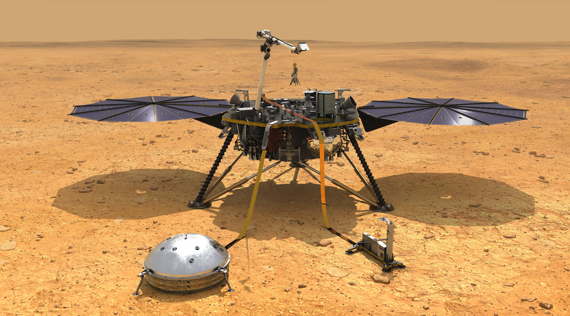 <p>This artist's concept depicts NASA's InSight lander after it has deployed its instruments on the Martian surface. </p>