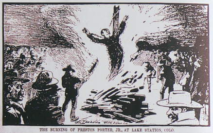 """<p>An illustration of the November 1900 lynching of 16-year old Preston Porter outside of Limon. Porter is one of the three Colorado names included in the newlynching memorial in <span style=""""color: rgb(64, 69, 64);"""">Montgomery, Ala</span>.</p>"""