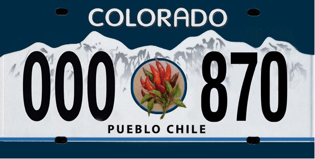 <p>A mock-up for an unapproved design for a special Pueblo Chile license plate.</p>