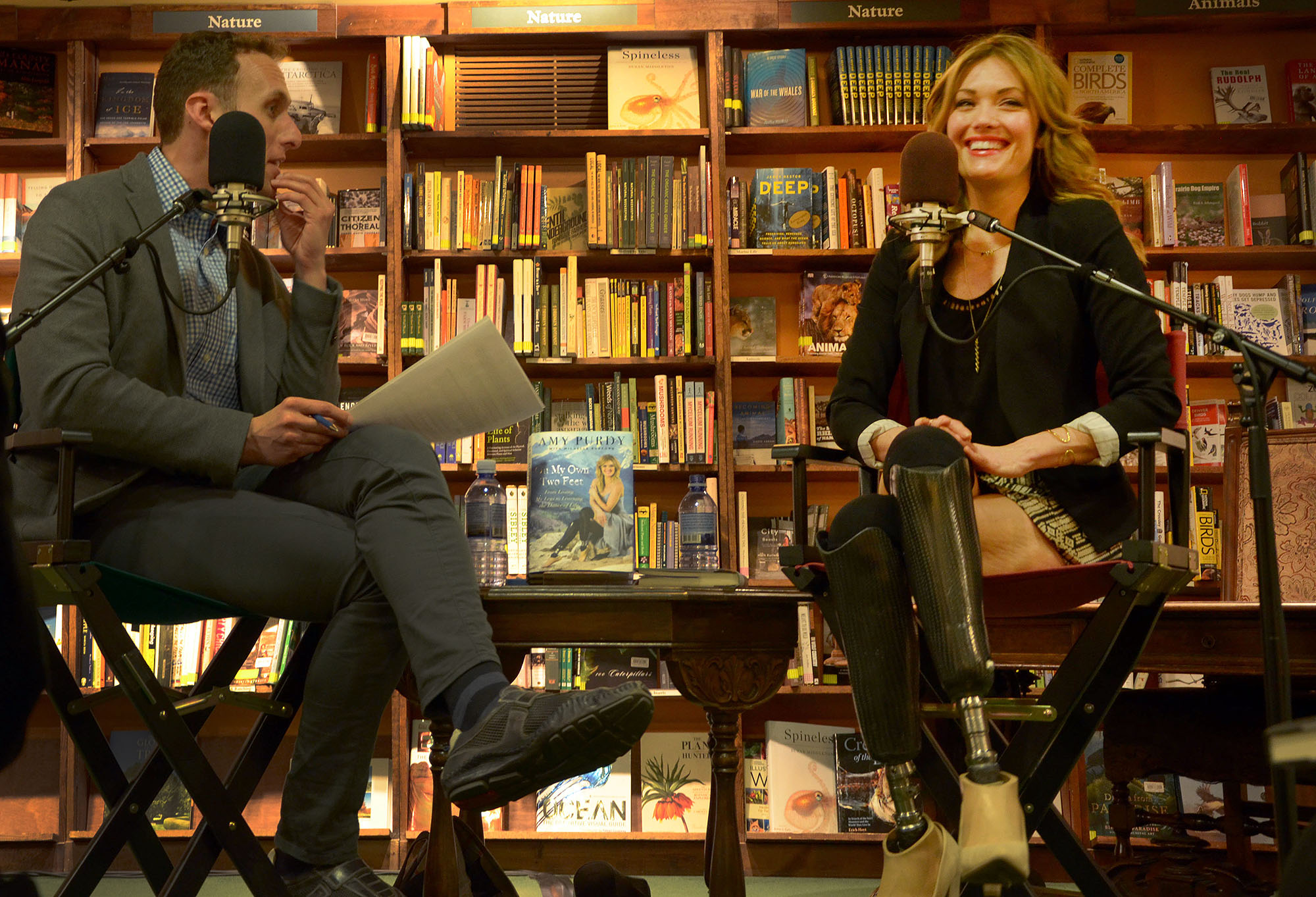 """<p>Amy Purdy, a double amputee, world class snowboarder and finalist on """"Dancing With The Stars,"""" speaks with Ryan Warner at the Tattered Cover on Colfax Avenue in Denver on Monday, Feb. 9, 2015.</p>"""