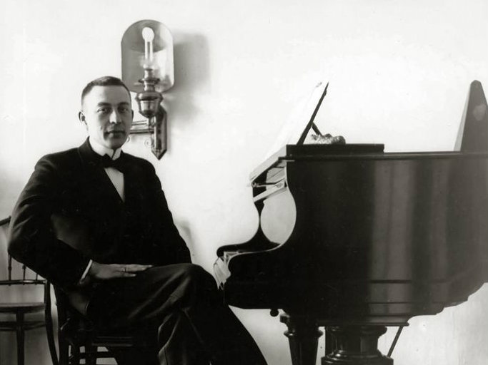 <p>A young Sergei Rachmaninoff at the piano.</p>