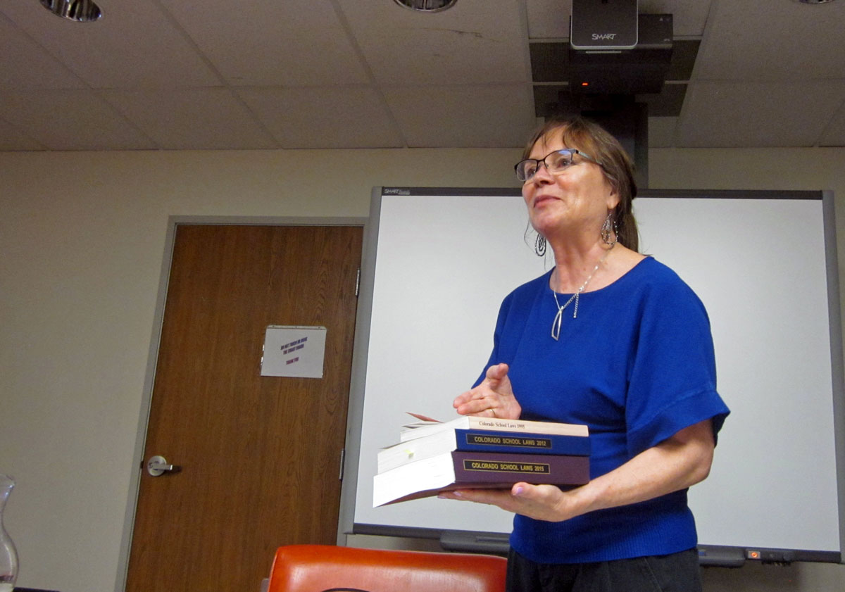 <p>RE-1 Valley Superintendent Jan DeLay giving a presentation discussing the finances of the school district. By building more understanding of thesituation,she believes she can build momentum for a $2 million ballot measure for funding.</p>