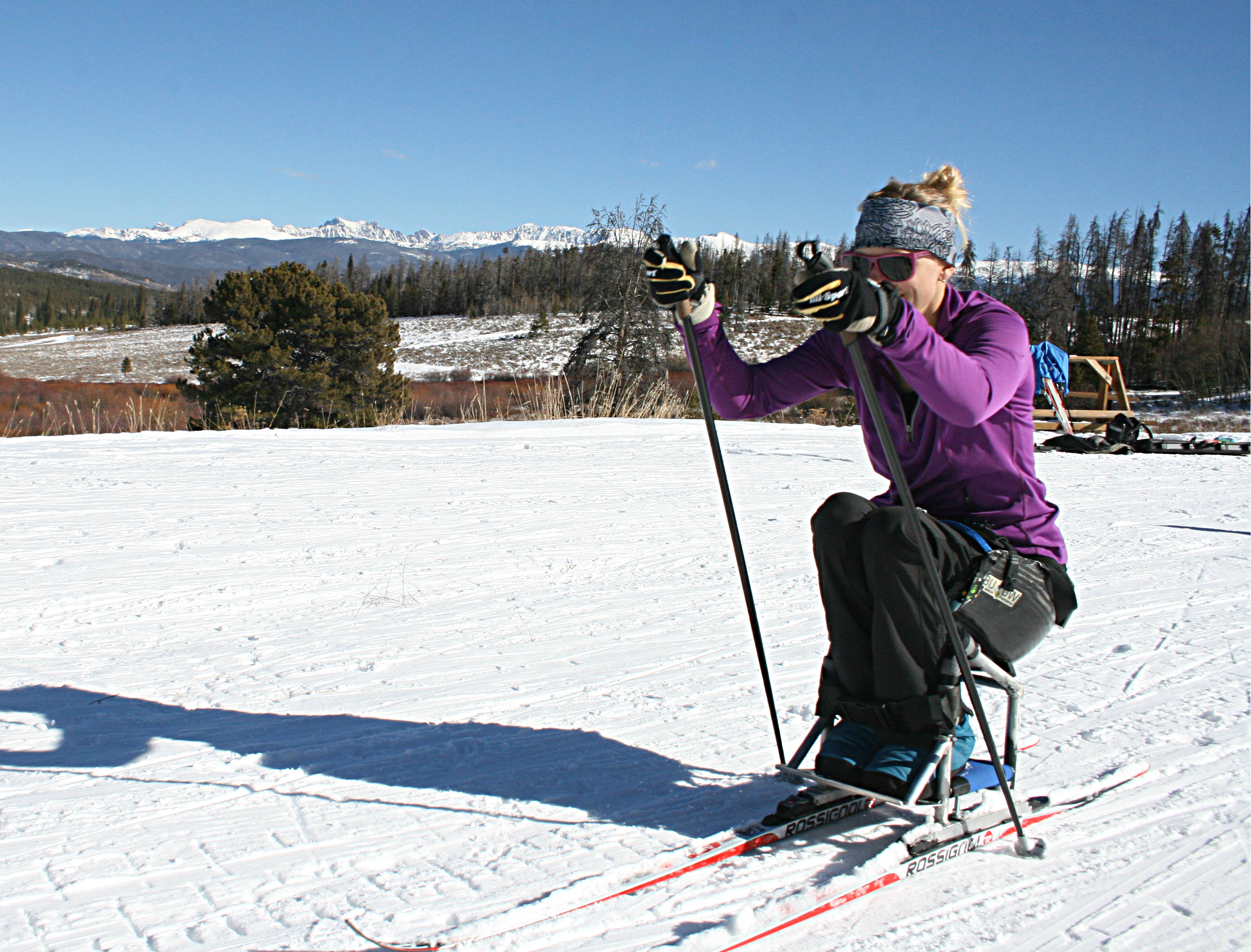 <p>Paralympic sitskier Beth Requist on a practice run at Colorado's Snow Mountain Ranch.</p>