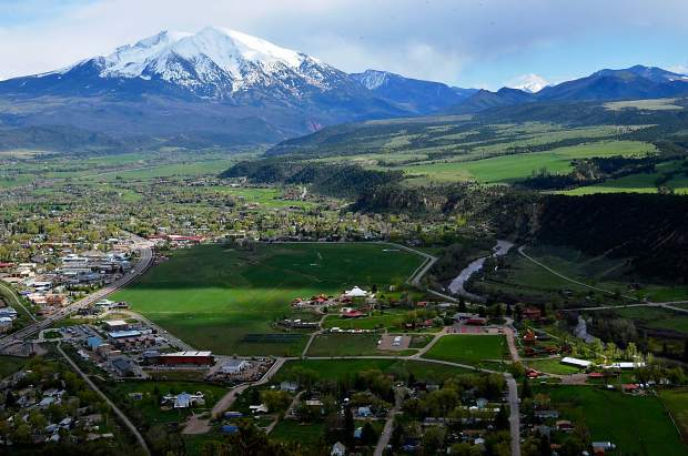 <p>The Roaring Fork Valley and Mt. Sopris, shown from Mushroom Rock above Carbondale.</p>