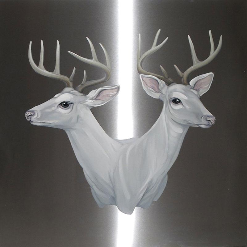 """<p>""""Sceena Deer"""" byMai Wyn Schantz, print on aluminum</p>"""
