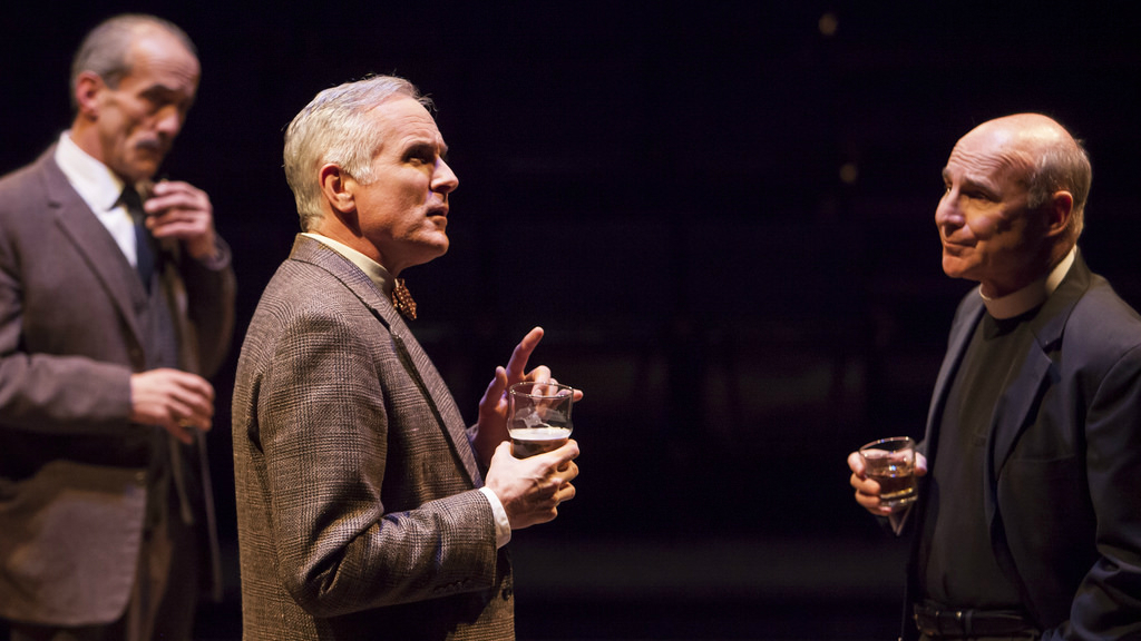 """<p>John Hutton (left), Sam Gregory and Michael Santo in the Denver Center Theatre Company's mainstage production of """"Shadowlands.""""</p>"""