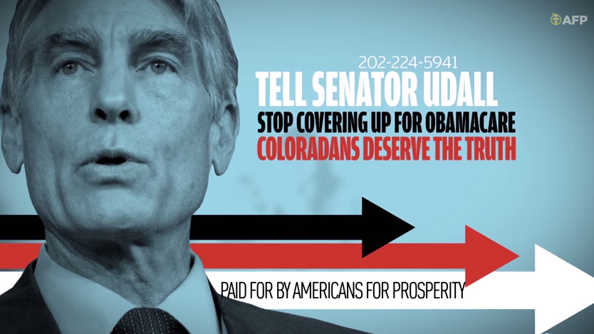 """<p><a href=""""http://www.youtube.com/watch?v=PhUCK1k4Ars"""" target=""""_blank"""" rel=""""noopener noreferrer"""">This ad</a> from Americans for Prosperity, a PAC that has spent a million dollars so far in Colorado, criticizes Sen. Mark Udall over the Affordable Care Act.</p>"""