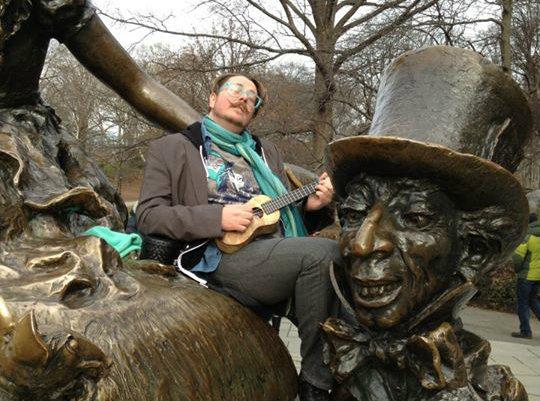 <p>Loki in Central Park, New York City, with custom Mya-Moe Ukulele (before it was stolen in Washington,D.C.).</p>