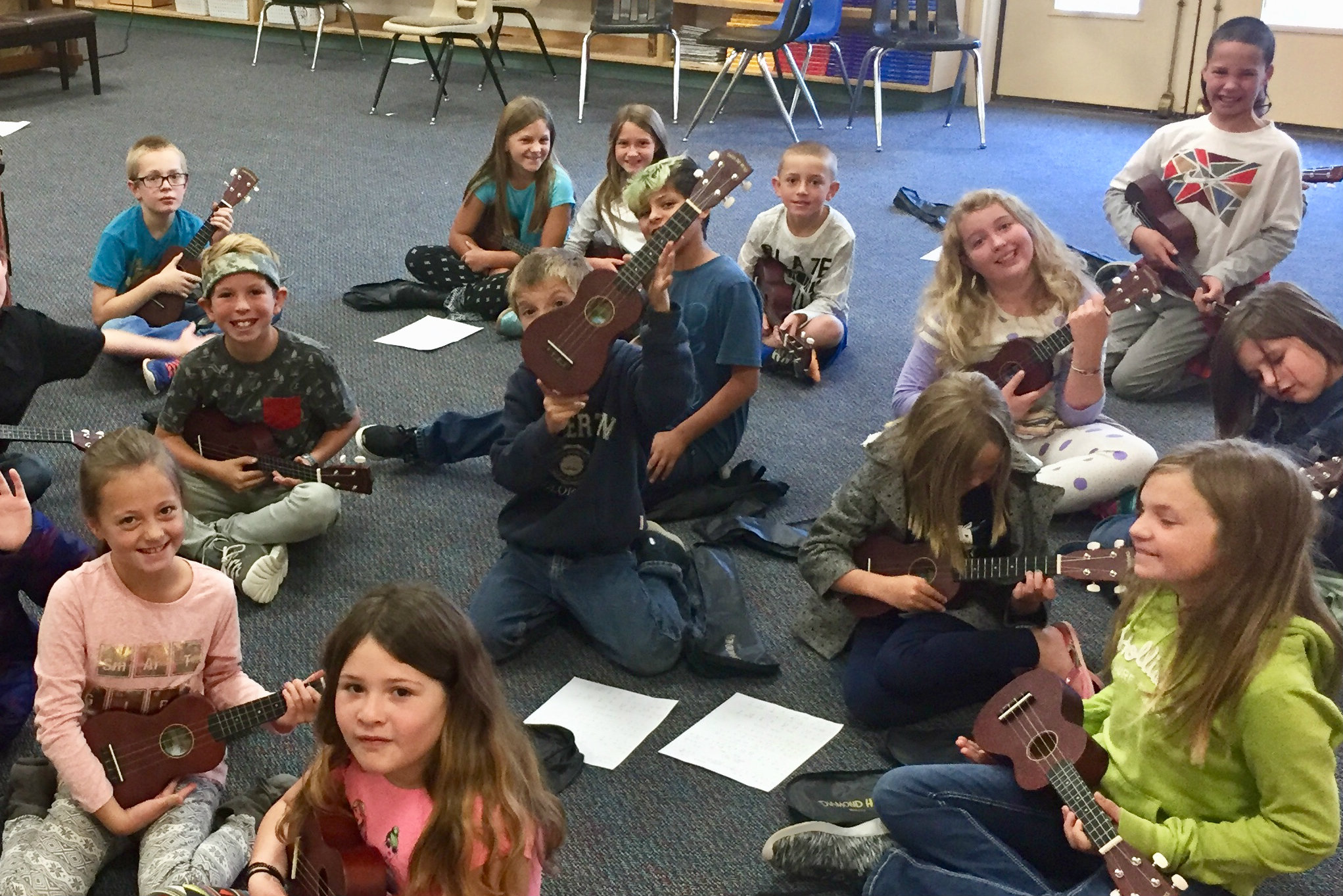 <p>The ukulele club at Fort Lewis Mesa Elementary School with their school instruments donated by the Bringing Music to Life Instrument Drive. </p>