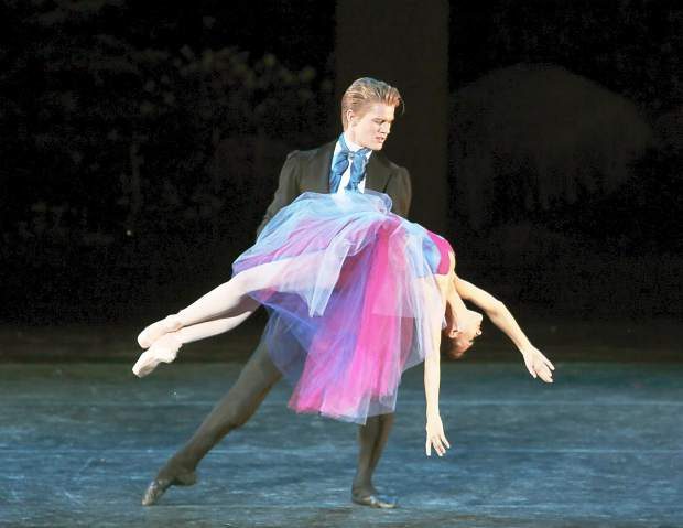 """<p>Lauren Lovette and Chase Finlay, pictured here dancing in """"Soirée Musicale,""""are among the featured dancers performing at the Vail International Dance Festival.</p>"""
