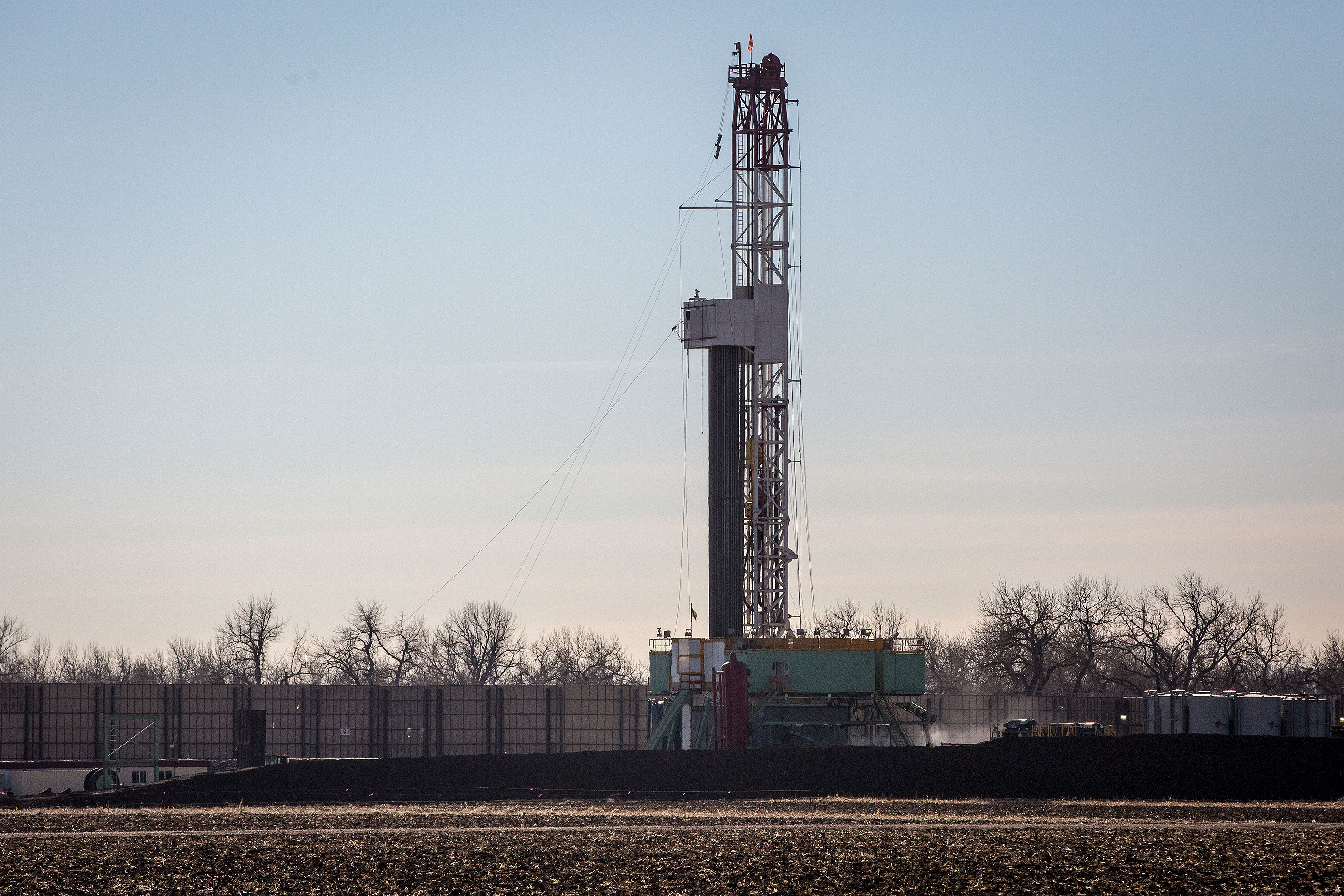 A drilling rig near Hwy 85 in Weld County Dec. 14, 2018.