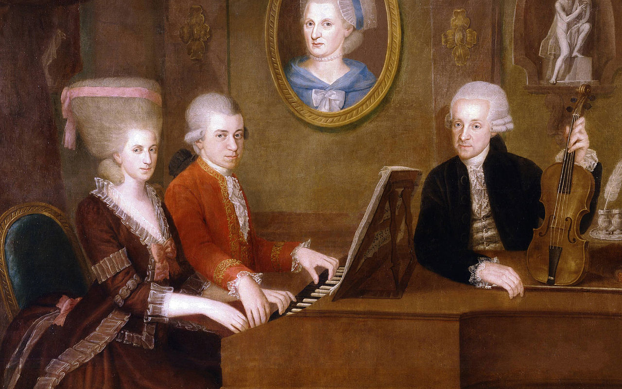 <p>Family portrait of Wolfgang Amadeus Mozart with his sister Maria Anna and father Leopold Mozart.</p>