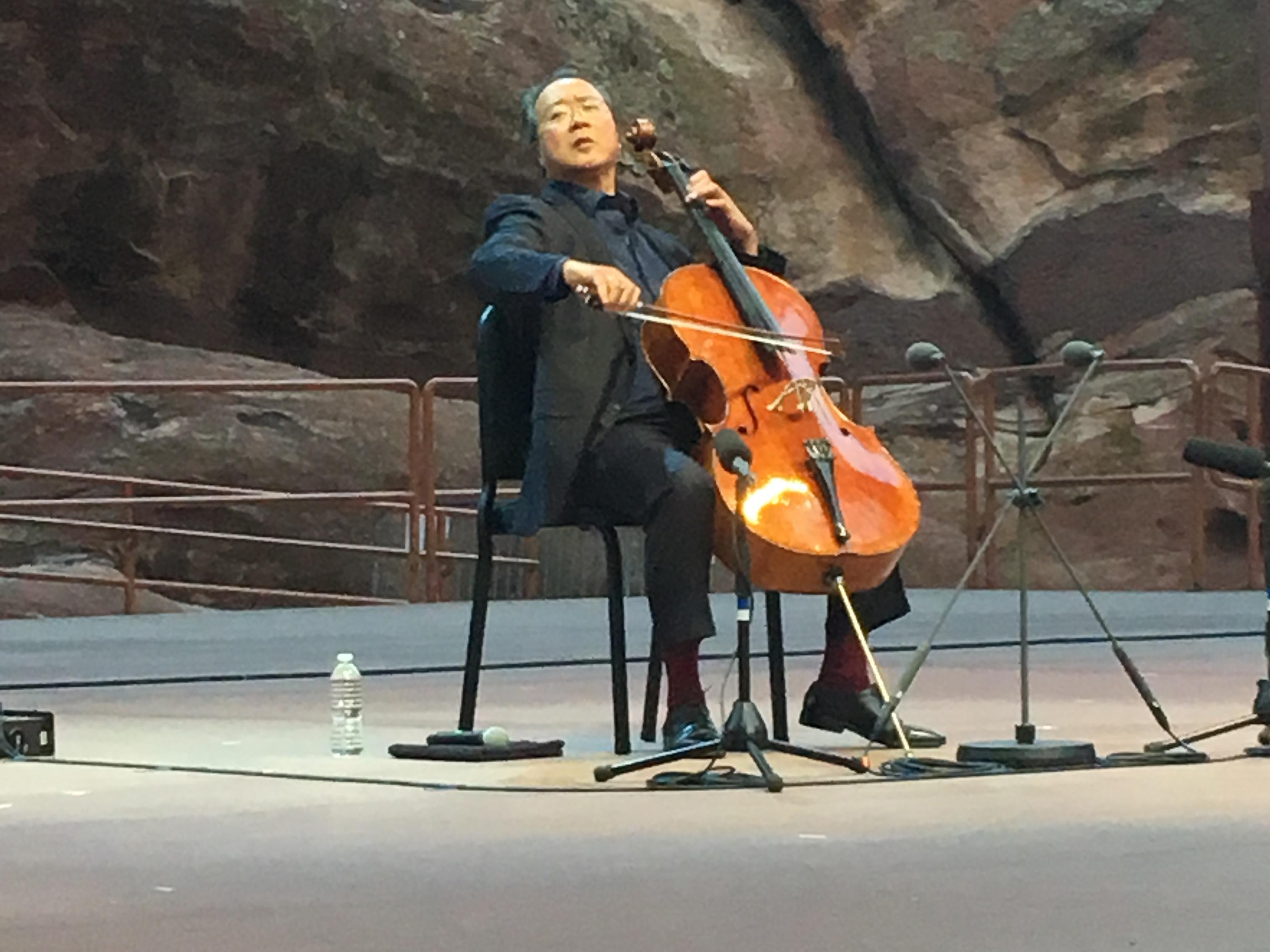 <p>Yo-Yo Ma performs to a sold-out crowd at Red Rocks Amphitheatre.</p>