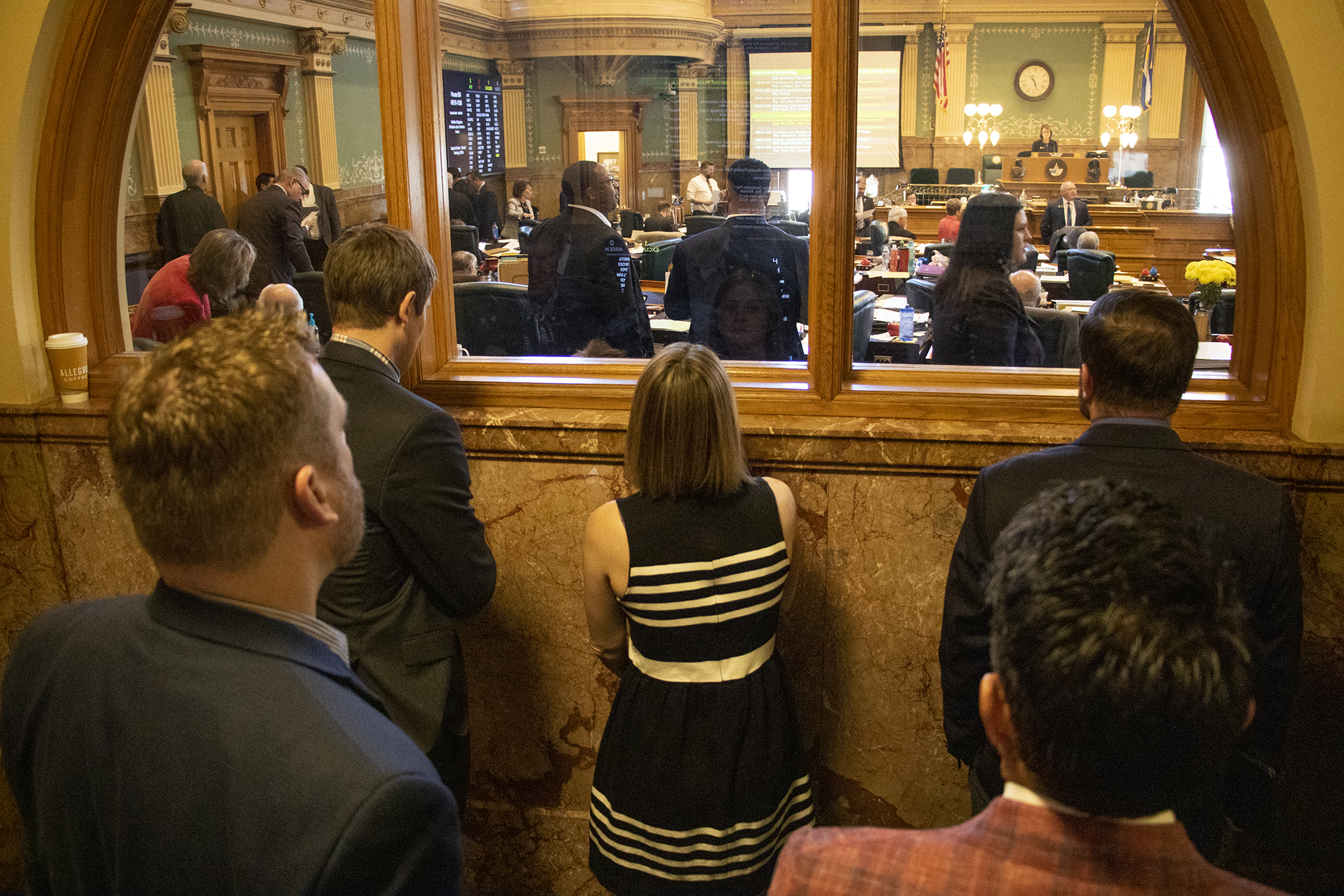 <p>Lobbyists watch the Colorado State House in action, April 19, 2019.</p>