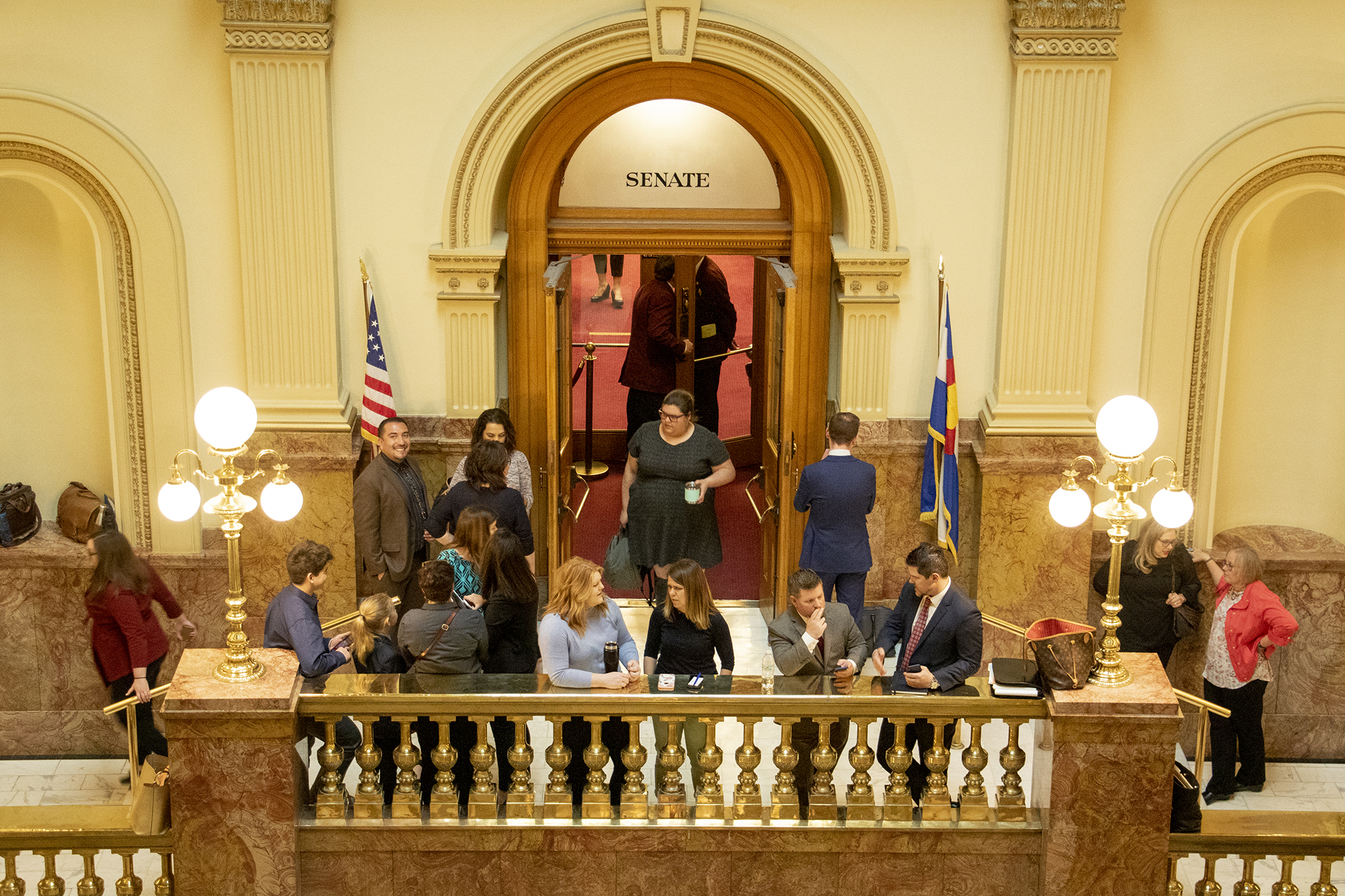 <p>It's a busy day outside the state Senate chambers, April 30, 2019.</p>