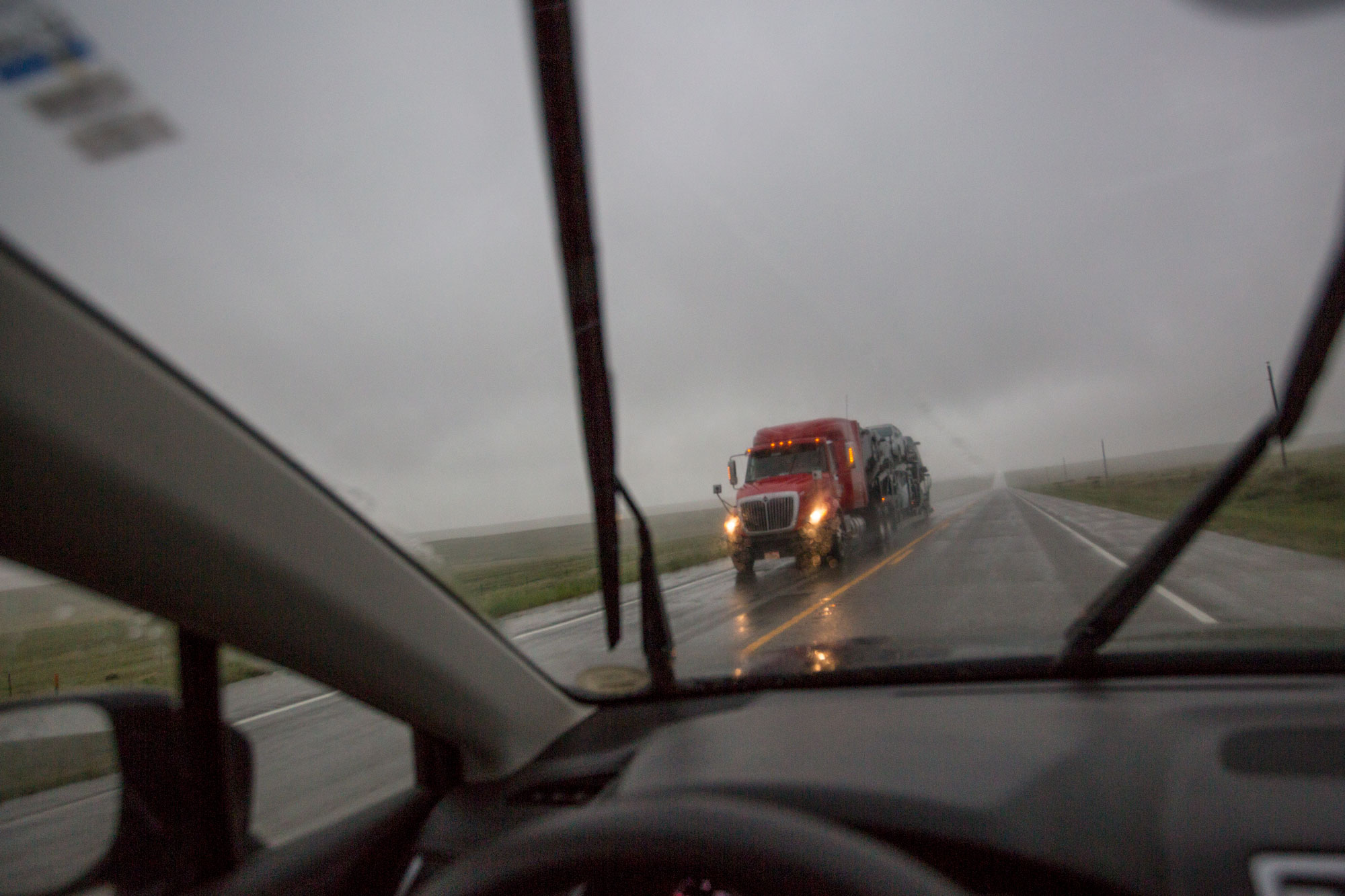 A truck headed north on Hwy 287 near the Eastern Plains town of Lamar on May 20, 2019.