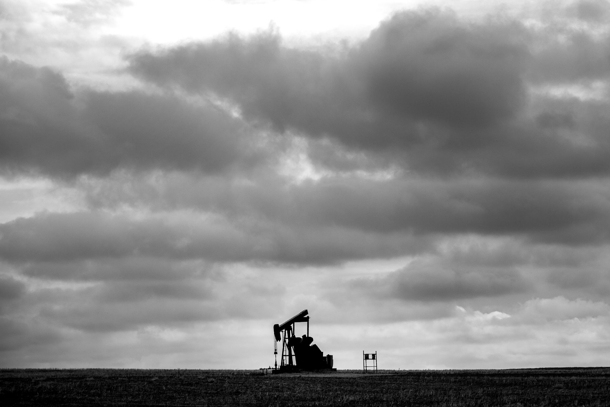 <p>A lone pump jack in a field south of Dacono, April 2, 2019.</p>