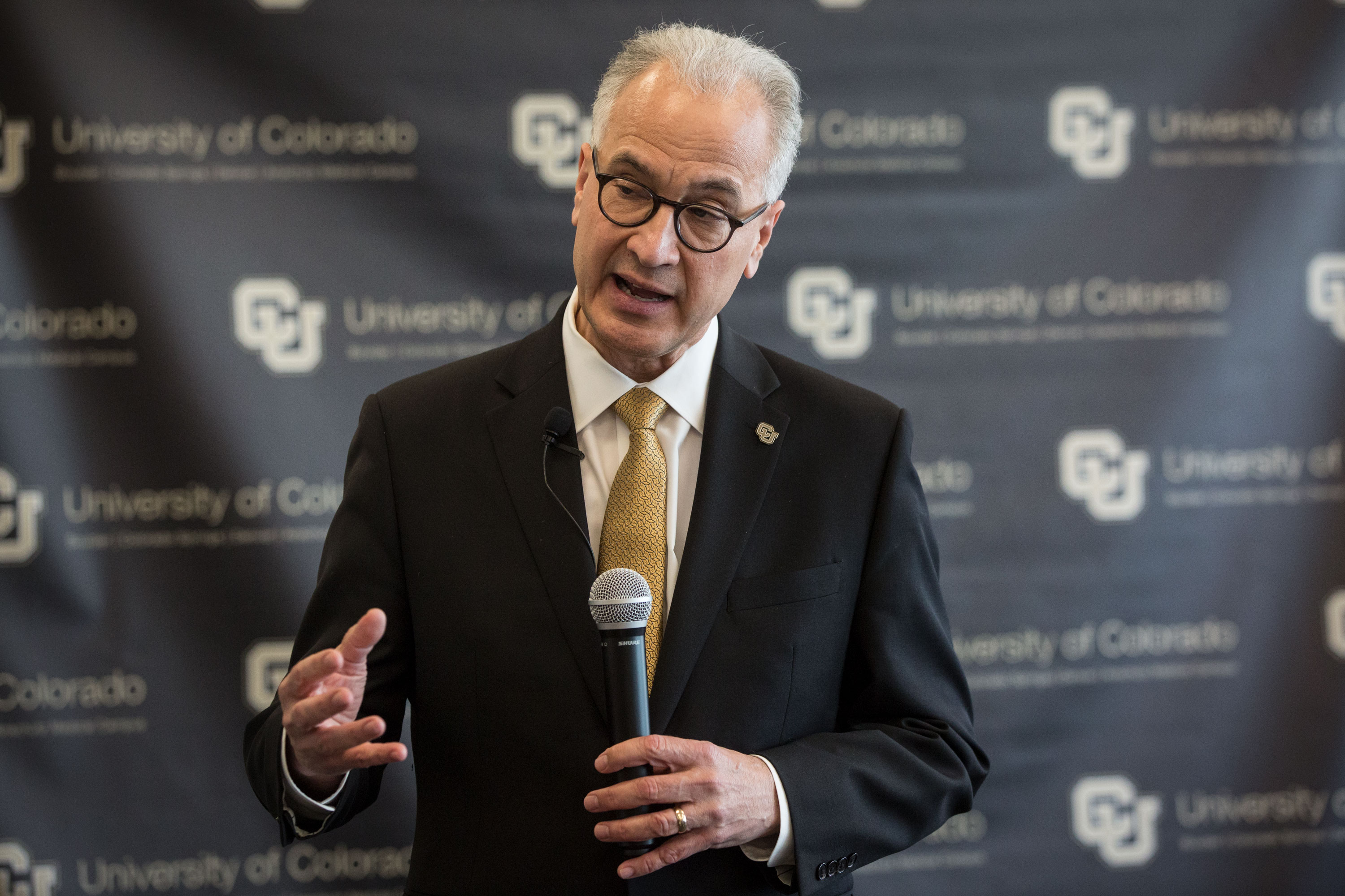 <p>Mark Kennedy speaks with reporters after winning approval from the CU Board of Regents to be the next president of the University of Colorado system, at the CU Anschutz Medical Campus on Thursday, May 2, 2019.</p>