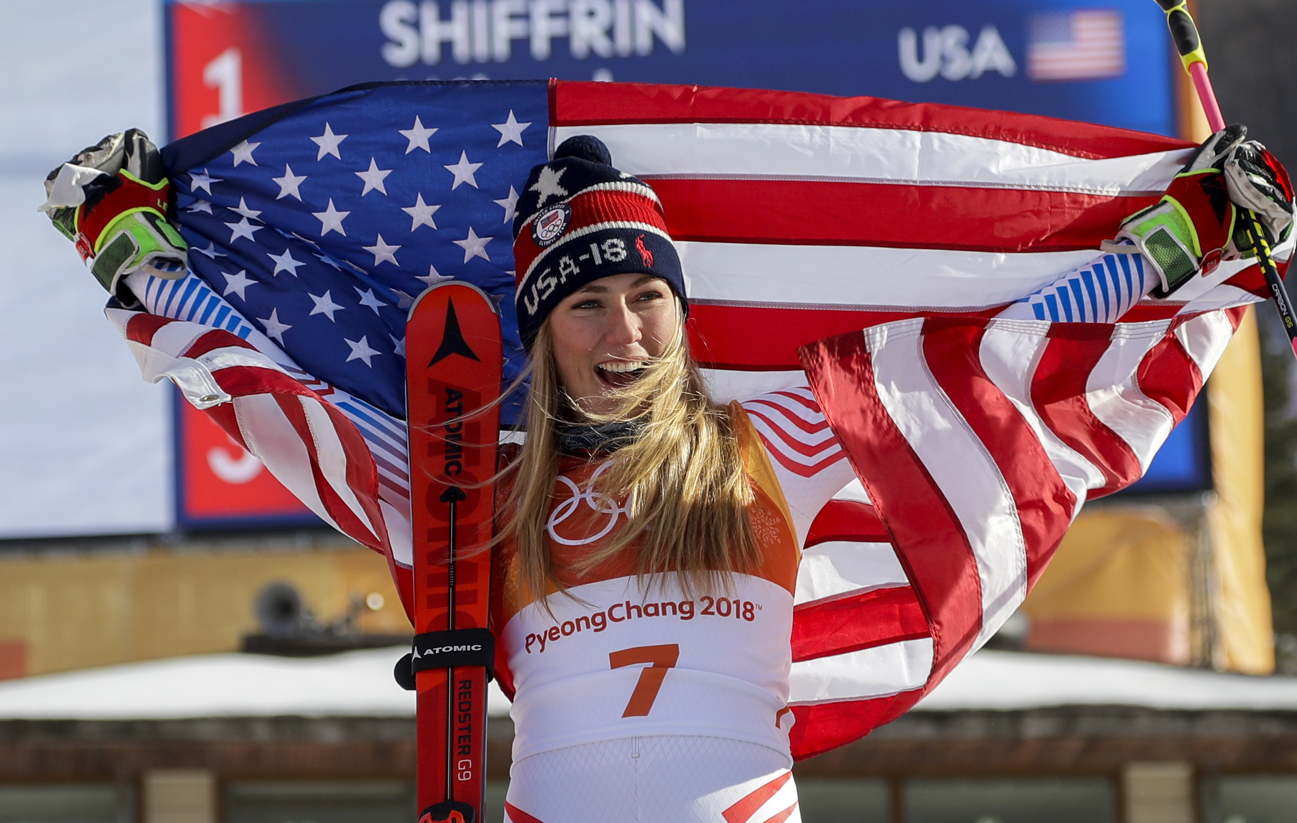 Mikaela Shiffrin celebrates her gold medal in Pyeongchang, South Korea, Feb. 15, 2018.