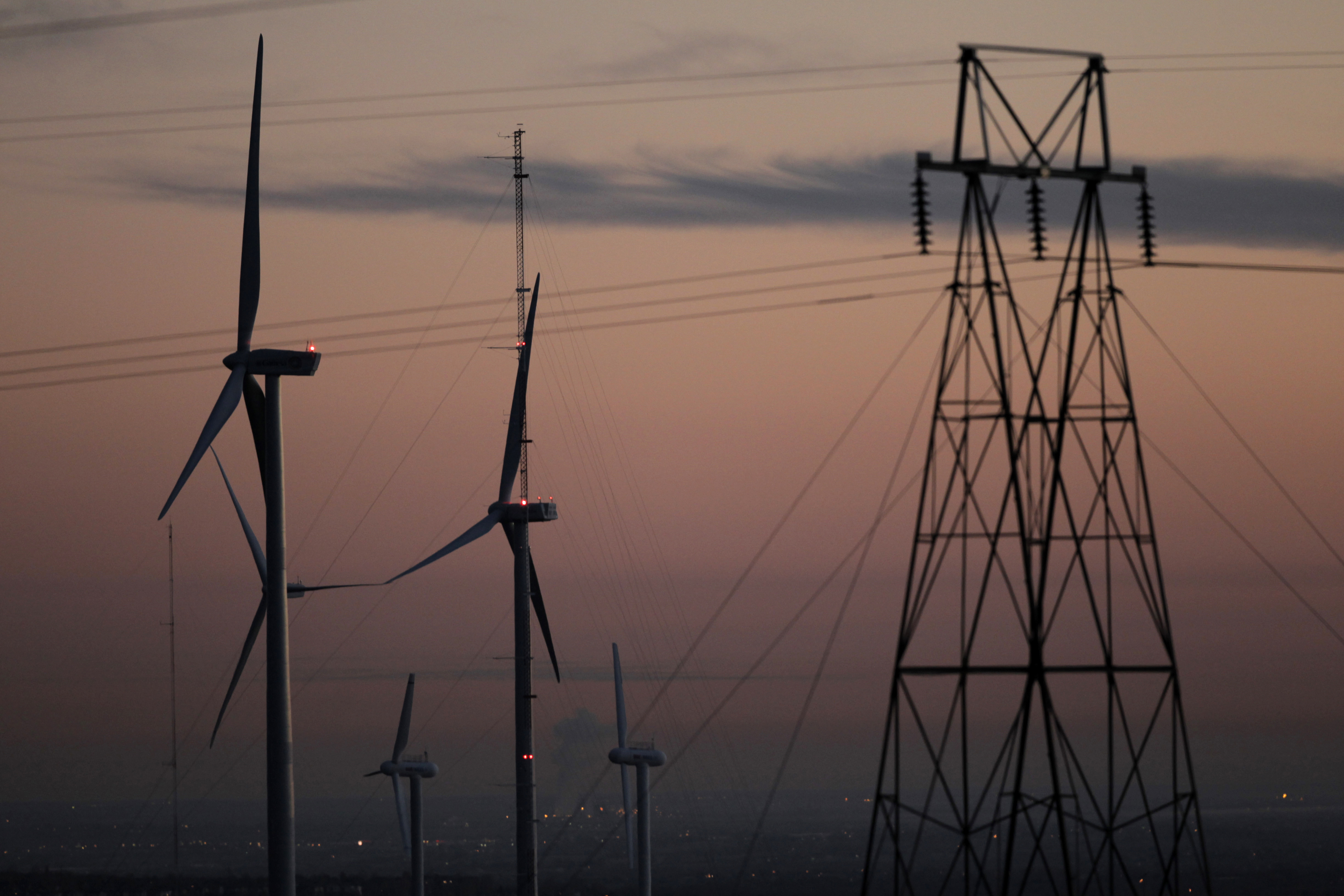 <p>Thisfile photo shows wind turbines outside Boulder, Colo.</p>