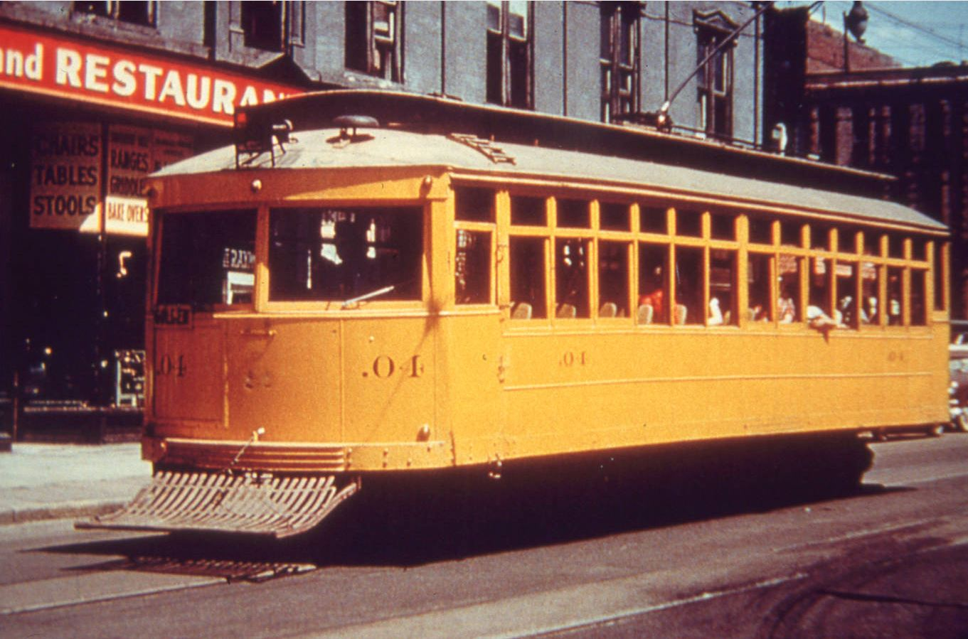 Streetcar No. 4 in 1947, about three years before it was retired.