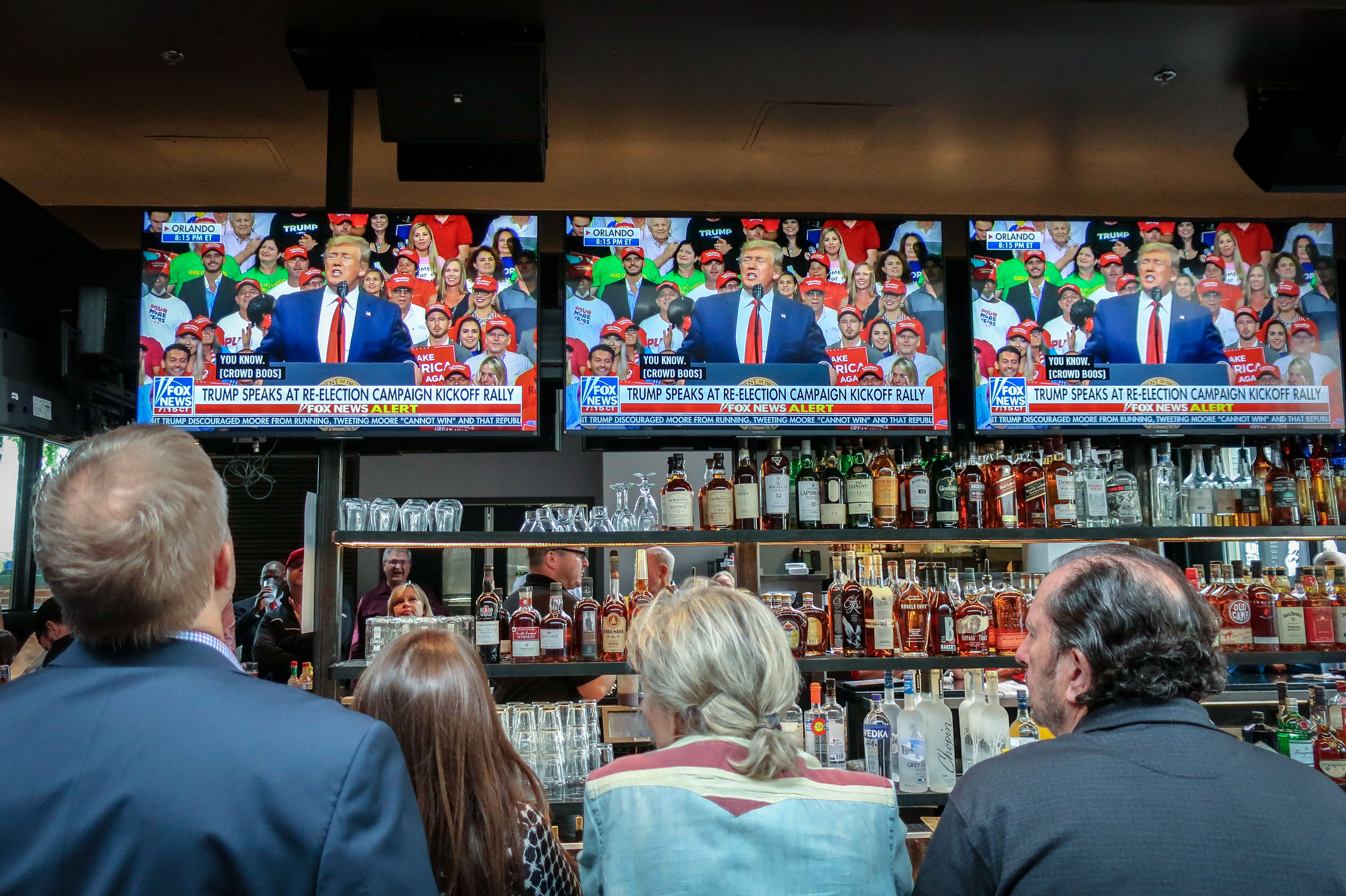 <p>Denver Republicans watch President Donald Trump launch his 2020 campaign with a speech from Orlando, Fla., June 18, 2019.</p>