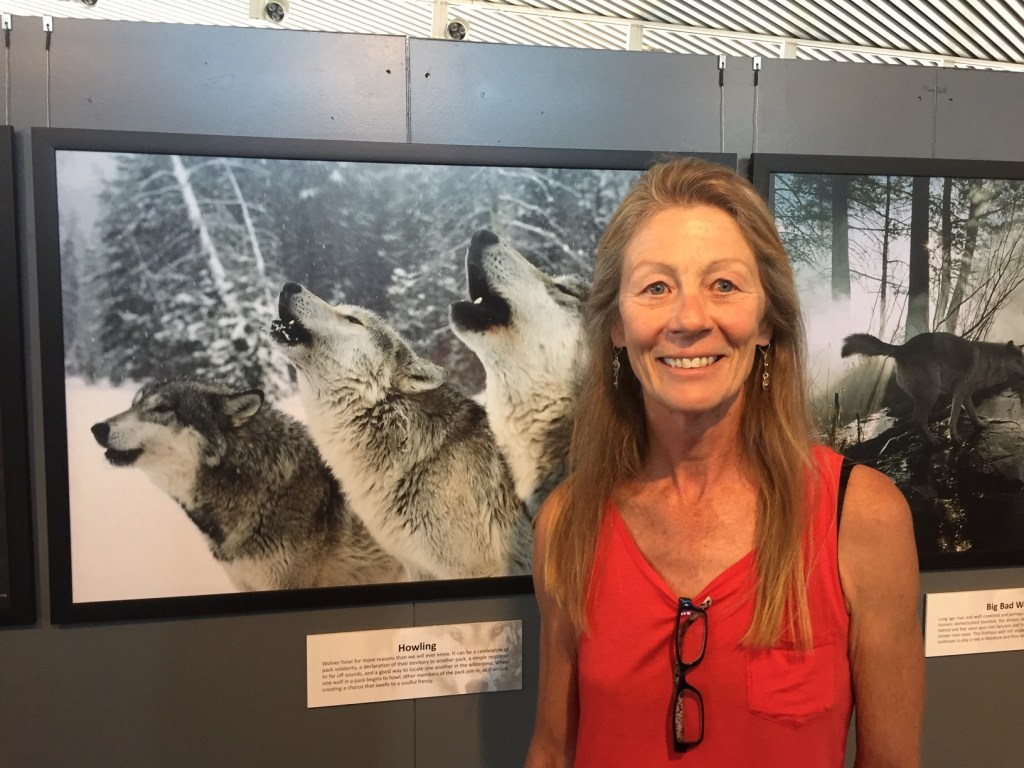 """Delia Malone at Pueblo Library's """"Living With Wolves"""" exhibit"""
