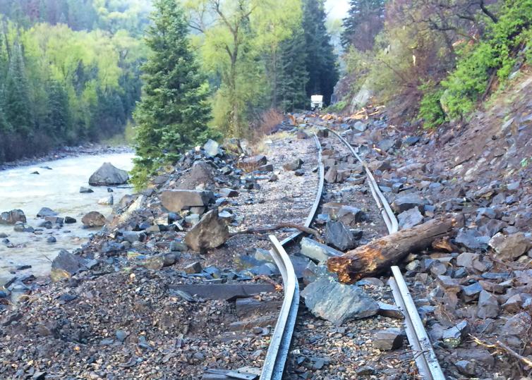 <p>Durango & Silverton Narrow GaugeRailroad track damage on May 7, 2015.</p>