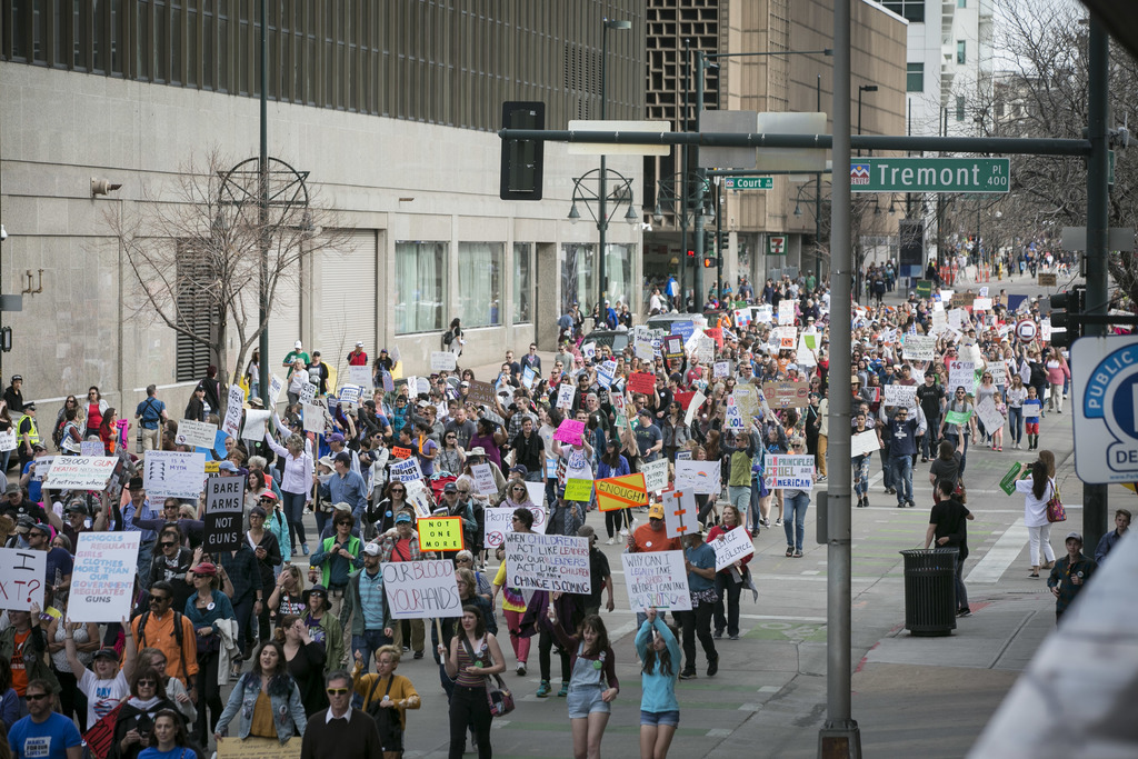 March For Our Lives protesters in downtown Denver demanded an end to gun violence and more restrictions on access to firearms. Saturday, March 24, 2018.