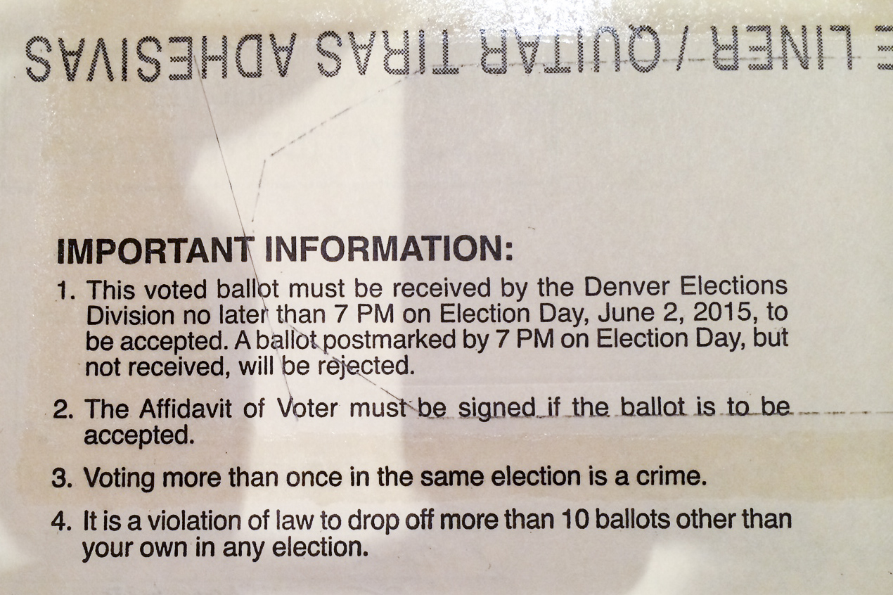 <p>Envelopes like this containing the wrong election date were mailed out to Denver voters this week. Election Day is May 5, not June 2.</p>