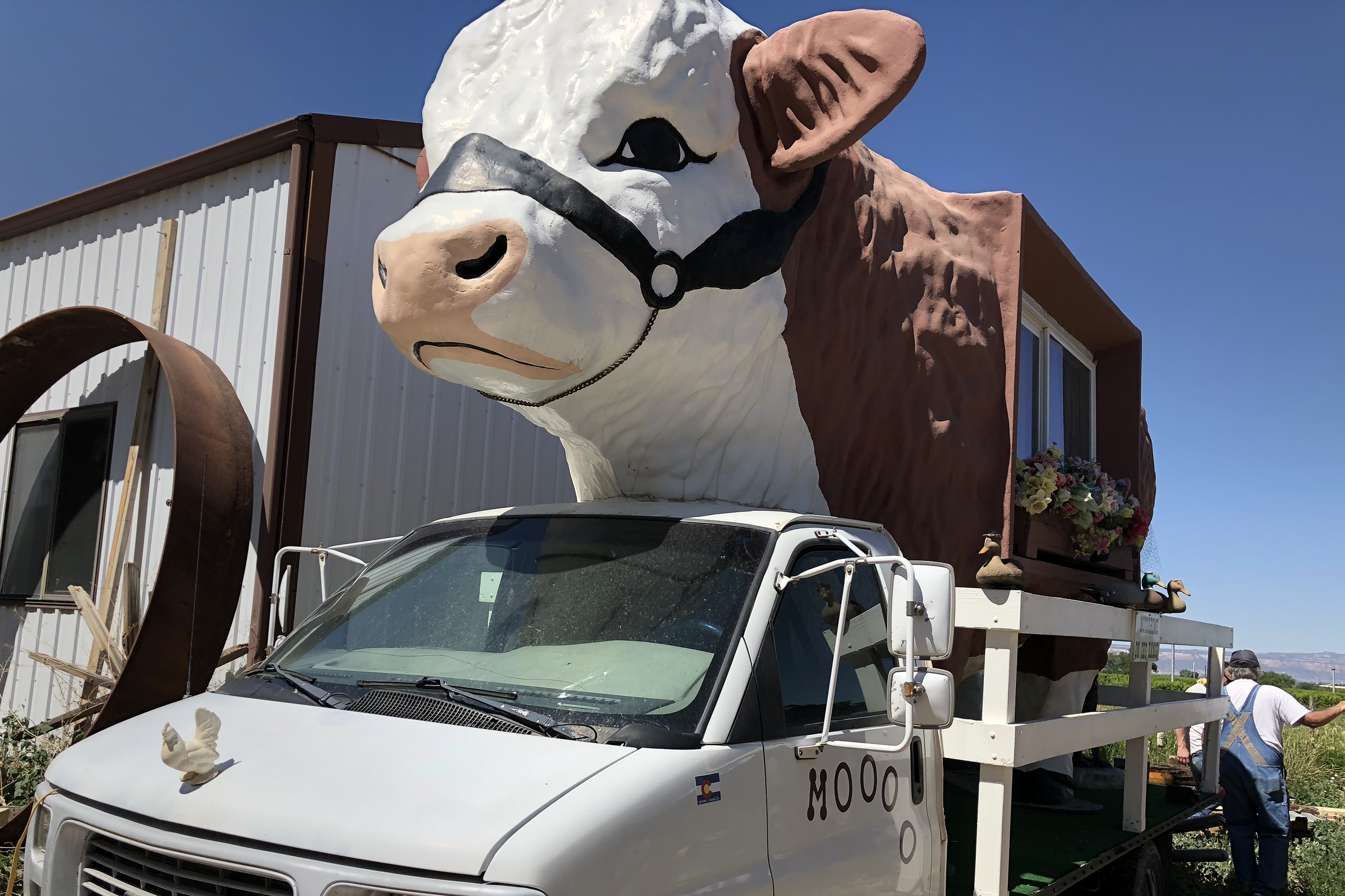 <p>Lyle Nichols repurposed a cow statue that once stood outside a restaurant and made his cow motorhome, complete with a mooing horn.</p>