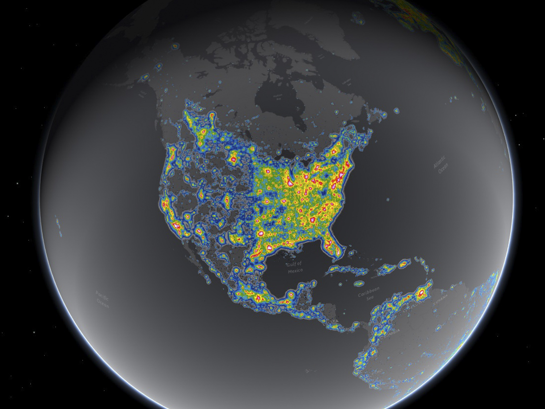 <p>Light pollution is worse across the eastern U.S., which has more cities than the West.</p>