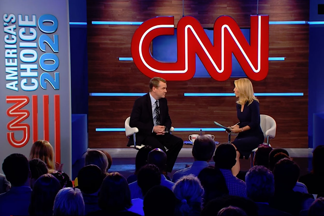 <p>Michael Bennet during his CNN Town Hall appearence, May 30, 2019.</p>